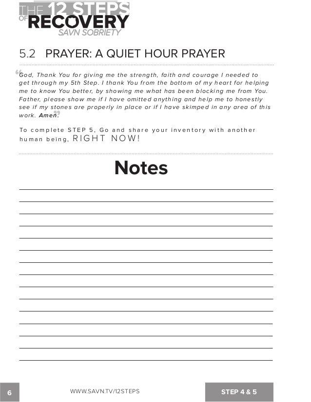 4th Step Aa Worksheet For Step Worksheet From The Big Book Of ...