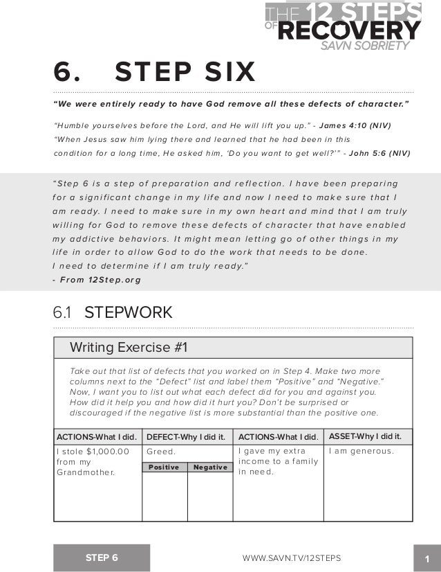 {The 12 Steps of Recovery savn sobriety workbook – Character Defects Worksheet