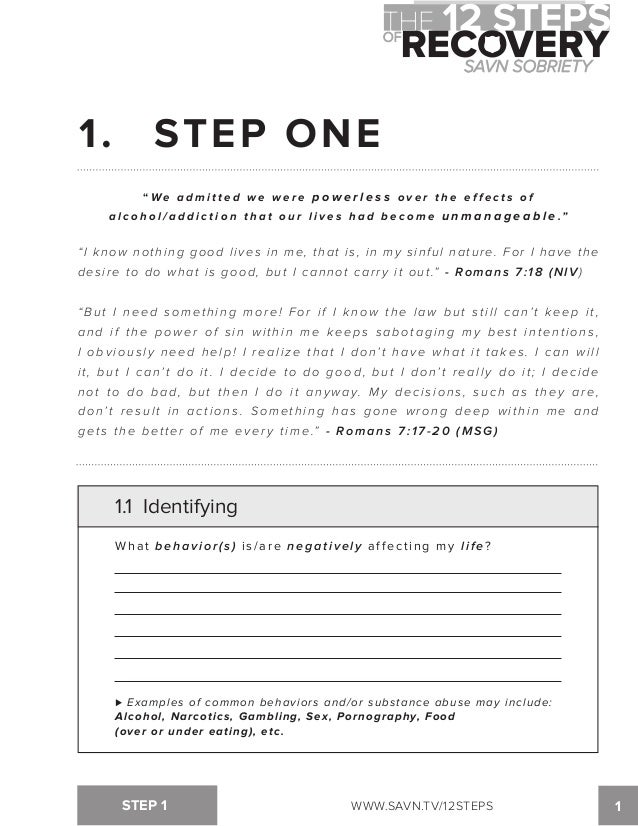 Printables Aa Step 1 Worksheet the 12 steps of recovery savn sobriety workbook 1 step