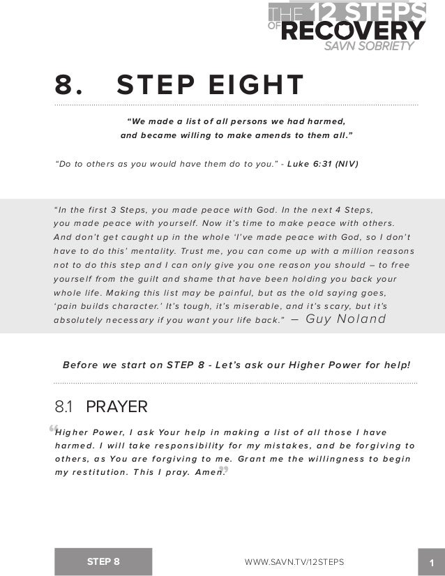 Printables Aa Step 8 Worksheet the 12 steps of recovery savn sobriety workbook 8