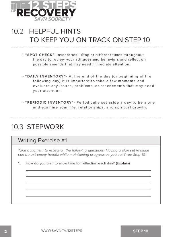 The 12 Steps of Recovery savn sobriety workbook – Step 10 Aa Worksheet