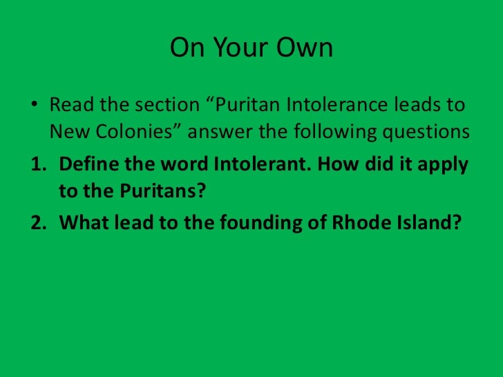 A question on the puritans views on the concept of freedom