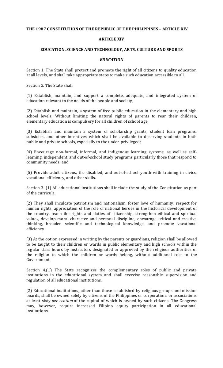 THE 1987 CONSTITUTION OF THE REPUBLIC OF THE PHILIPPINES – ARTICLE XIV                                        ARTICLE XIV ...