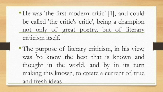 "comparison and evaluation in matthew arnolds the study of poetry Literary criticism of matthew arnold  ""the study of poetry"", arnold invites the reader to respond to his  the doubter might like to turn to the comparison ."