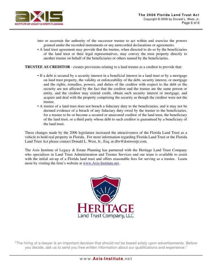 The 2006 Florida Land Trust Act