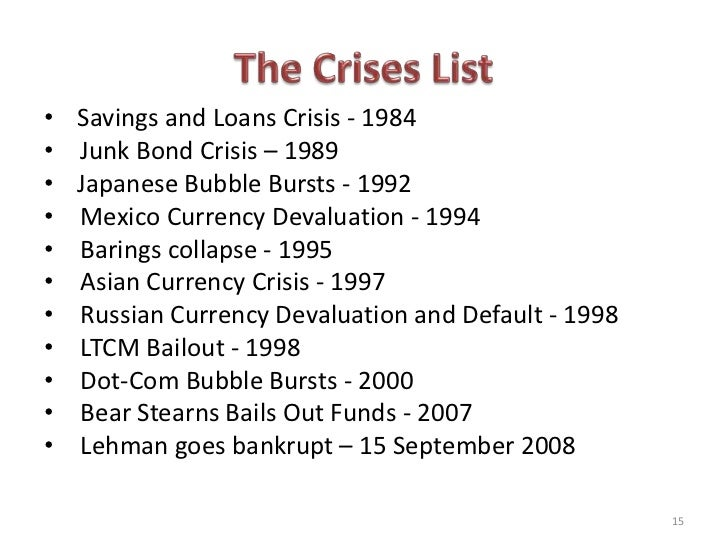causes of the 2008 financial crisis In the wall street journal, bill thomas, keith hennessey and douglas holtz- eakin, three dissenting members of the financial crisis inquiry commission, write that the a rapid succession of 10 firm failures, mergers and restructurings in september 2008 caused a financial shock and panic (factor 9.
