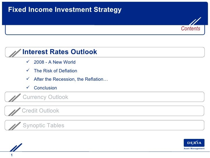 Fixed Income Investment Strategy Currency Outlook Synoptic Tables Contents Credit Outlook <ul><li>2008 - A New World </li>...