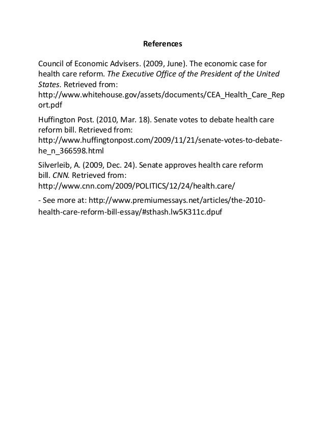 the health care reform bill essay 6