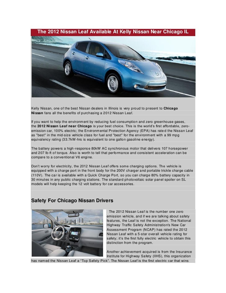 The 2012 Nissan Leaf Available At Kelly Nissan Near Chicago Il