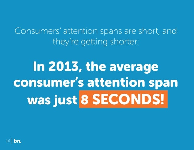 Consumers' attention spans are short, and they're getting shorter.  In 2013, the average consumer's attention span was jus...