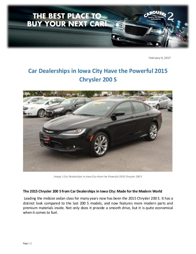 The 2015 Chrysler 200 S From Car Dealerships In Iowa City