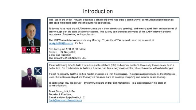 """Introduction The """"Job of the Week"""" network began as a simple experiment to build a community of communication professional..."""