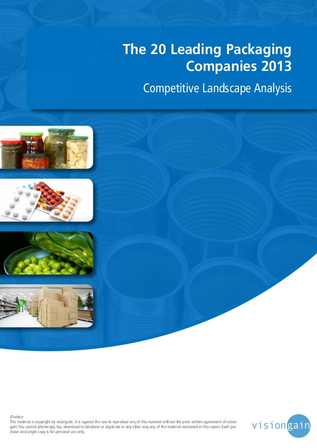 The 20 Leading Packaging Companies 2013 Competitive Landscape Analysis  ©notice This material is copyright by visiongain. ...