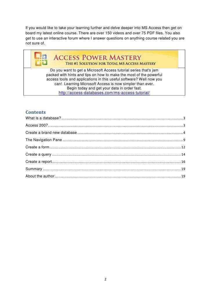 Ms Access 2007 Manual Pdf
