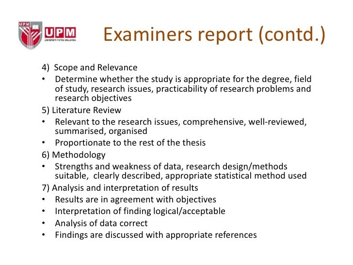 external examiners report phd thesis Examiners' criteria for evaluating the thesis general criteria before the viva, the internal and the external examiner each independently complete a report on the thesis.