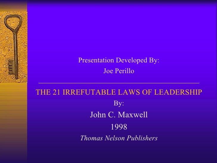 21 irrefutable laws of leadership u next leadership