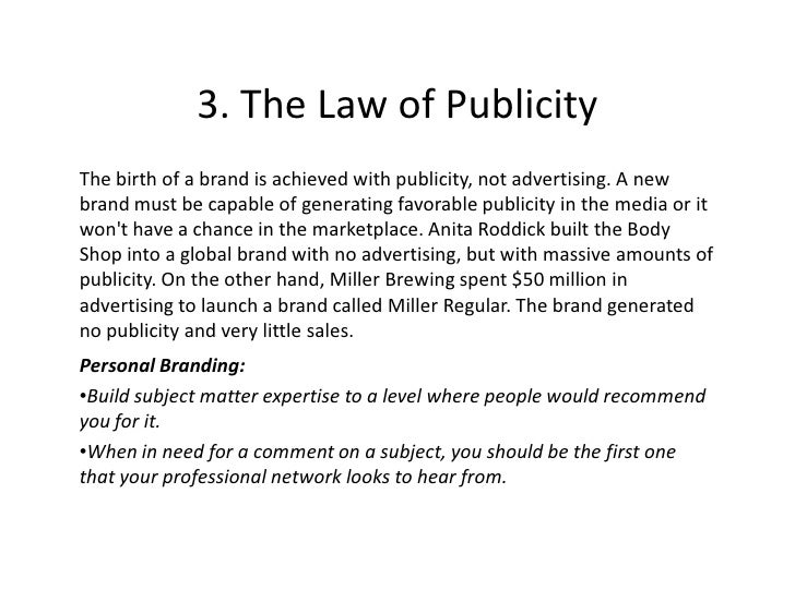 3 Reasons Not Getting Publicity  >> 3 The Law Of Publicity