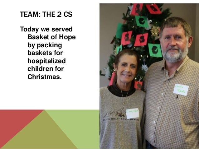 TEAM: THE 2 CS Today we served Basket of Hope by packing baskets for hospitalized children for Christmas.