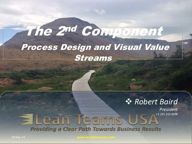 Robert Baird President +1 215 353 0696 The 2nd Component Process Design and Visual Value Streams 29-Dec-15 www.leanteams...