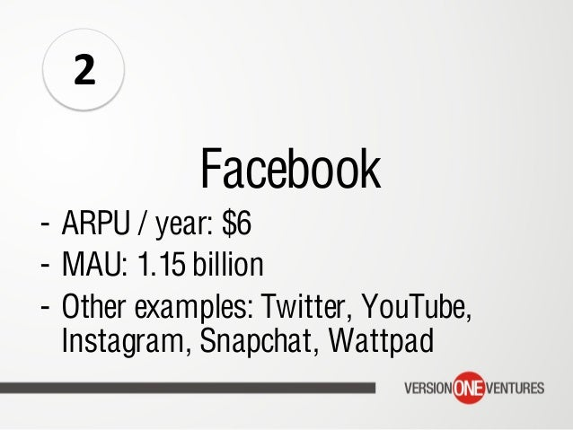 Facebook - ARPU / year: $6 - MAU: 1.15 billion - Other examples: Twitter, YouTube, Instagram, Snapchat, Wattpad 2