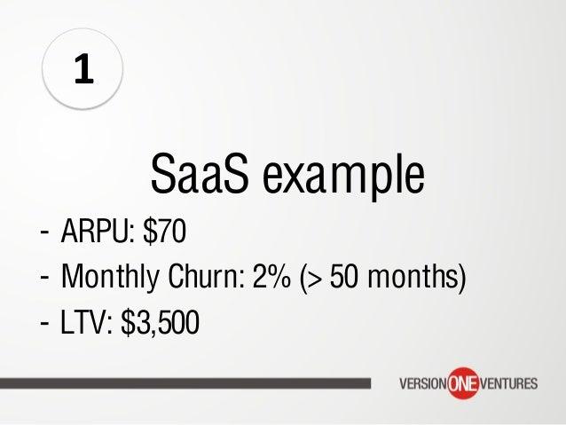 SaaS example - ARPU: $70 - Monthly Churn: 2% (> 50 months) - LTV: $3,500 1