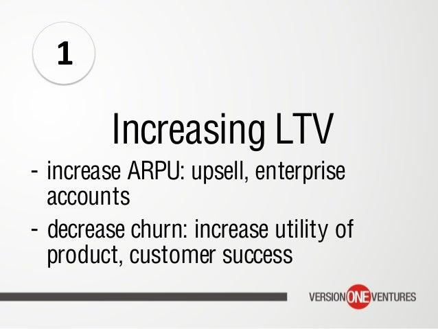 Increasing LTV - increase ARPU: upsell, enterprise accounts - decrease churn: increase utility of product, customer succ...