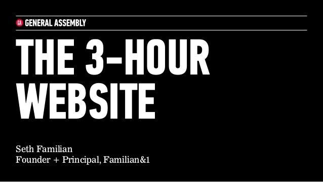 Seth Familian Founder + Principal, Familian&1 THE 3-HOUR WEBSITE