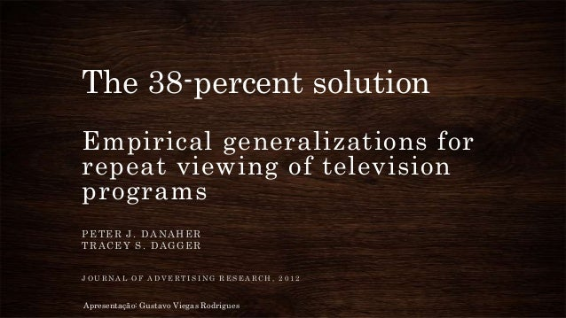 The 38-percent solution Empirical generalizations for repeat viewing of television programs P E T E R J . D A N A H E R T ...