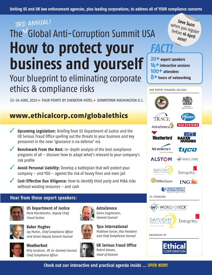 Uniting US and UK law enforcement agencies, plus leading corporations, to address all of YOUR compliance concerns         ...