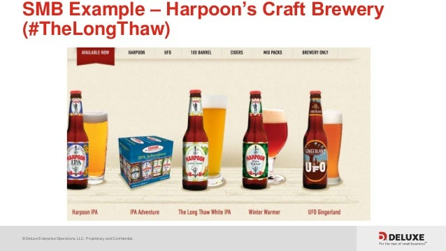 © Deluxe Enterprise Operations, LLC. Proprietary and Confidential. SMB Example – Harpoon's Craft Brewery (#TheLongThaw)