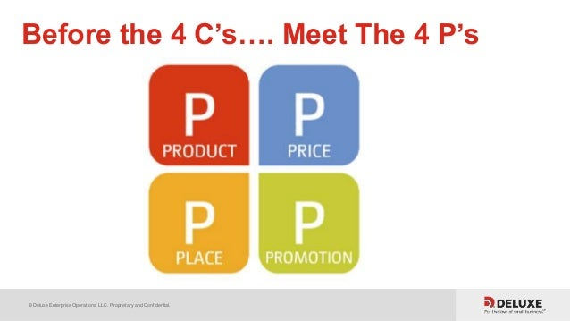 © Deluxe Enterprise Operations, LLC. Proprietary and Confidential. Before the 4 C's…. Meet The 4 P's