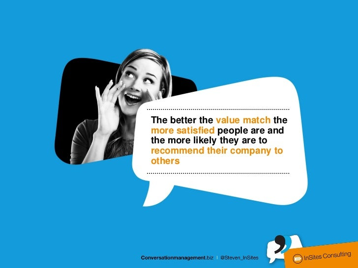 The better the value match themore satisfied people are andthe more likely they are torecommend their company toothers
