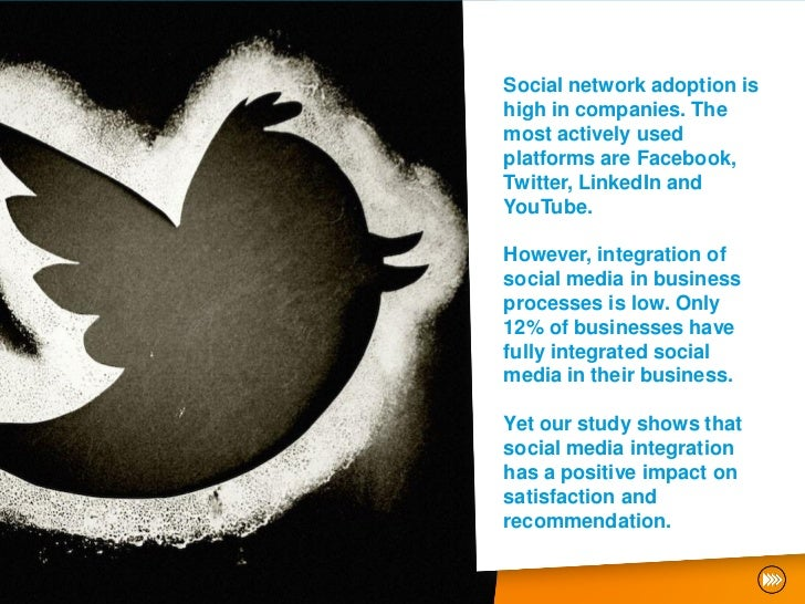 Social network adoption ishigh in companies. Themost actively usedplatforms are Facebook,Twitter, LinkedIn andYouTube.Howe...