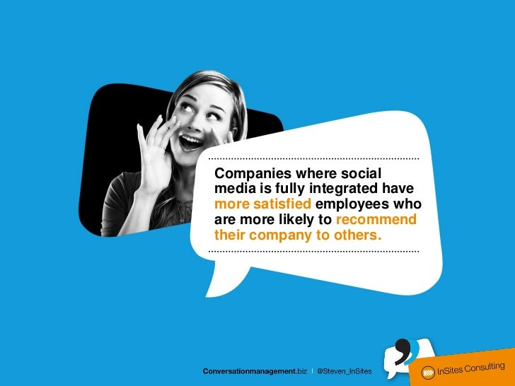 Companies where socialmedia is fully integrated havemore satisfied employees whoare more likely to recommendtheir company ...