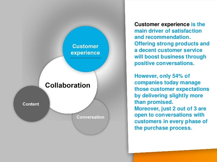 Customer experience is themain driver of satisfactionand recommendation.Offering strong products anda decent customer serv...