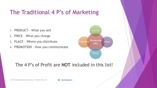 profit and the 4 ps of For years marketers referred to the 4 p's of marketing, but recently a 5th p, people, was addedthe 5 ps of marketing are:.