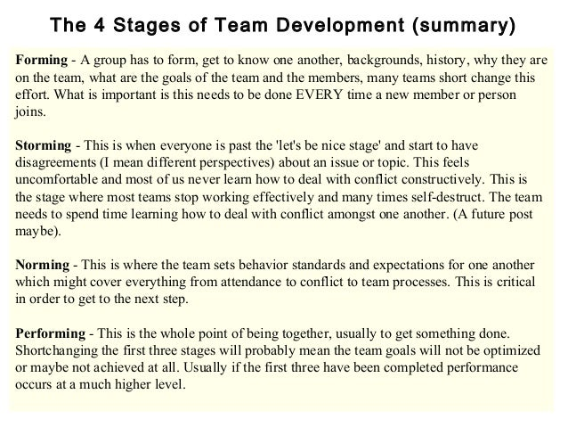 describe the various stages of the Identify the stage of team development that your team is at from the descriptions above now consider what you need to do to move towards the performing stage figure 1, below, will help you understand your role, and think about how you can move the team forward.