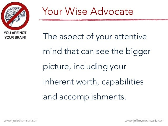 The aspect of your mind that knows what you are thinking, can see the deceptive brain messages for what they are and where...