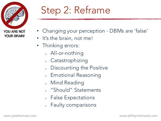 RELABEL Identify the intrusive thoughts and urges as uncomfortable sensations. Call them what they really are. REFRAME Say...