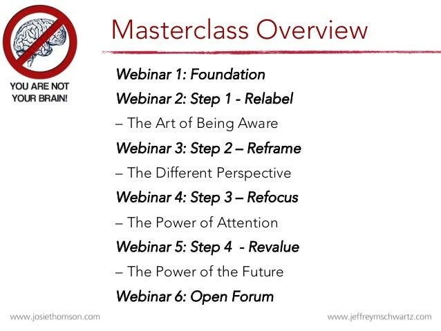 Webinar 1: Foundation  Webinar 2: Step 1 - Relabel     – The Art of Being Aware  Webinar 3: Step 2 – Reframe     – The Dif...
