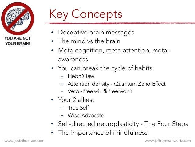 • Deceptive brain messages • The mind vs the brain • Meta-cognition, meta-attention, meta- awareness  • You can break ...