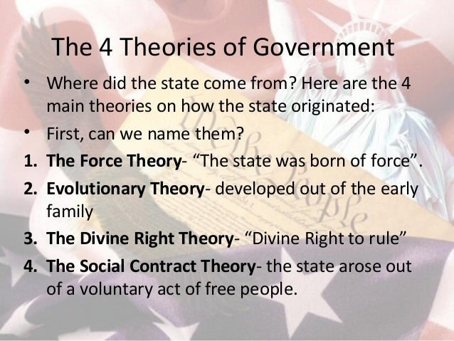 the four theories of government Theories of democratic government political beliefs and behaviors (10%–20%) individual citizens hold a variety of beliefs about their government, its leaders, and the us political system in general taken together, these beliefs form the foundation of.