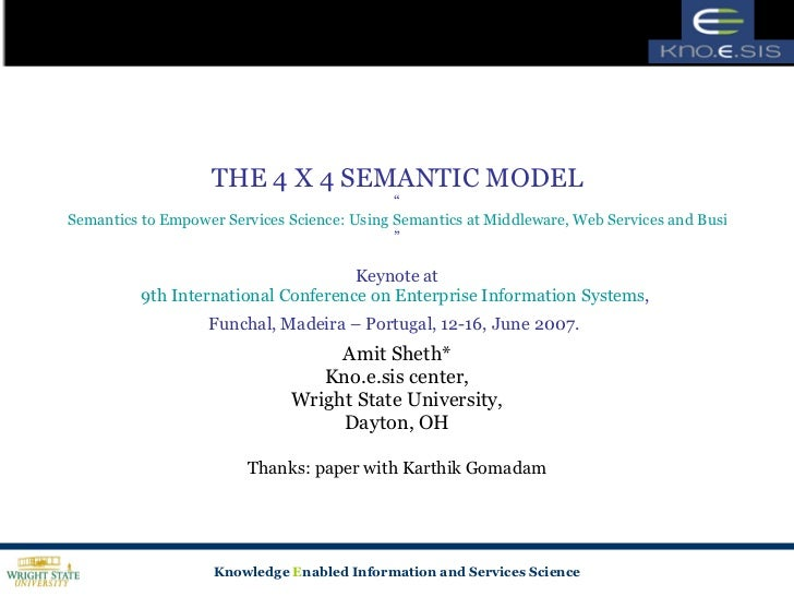 """THE 4 X 4 SEMANTIC MODEL """" Semantics to Empower Services Science: Using Semantics at Middleware, Web Services and Business..."""