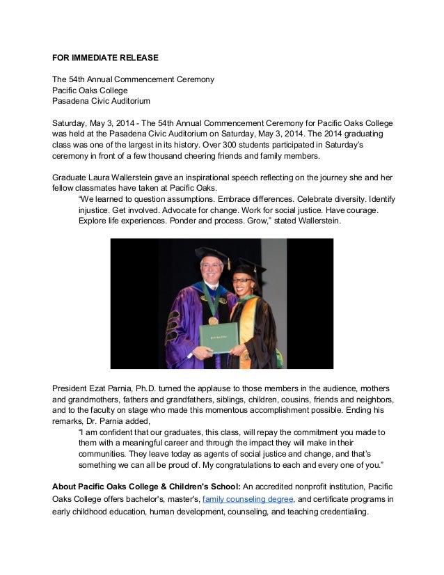 FORIMMEDIATERELEASE  The54thAnnualCommencementCeremony PacificOaksCollege PasadenaCivicAuditorium  Saturd...