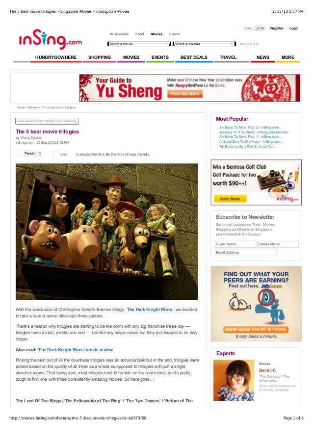 The 5 best movie trilogies - Singapore Movies - inSing.com Movies                                                         ...
