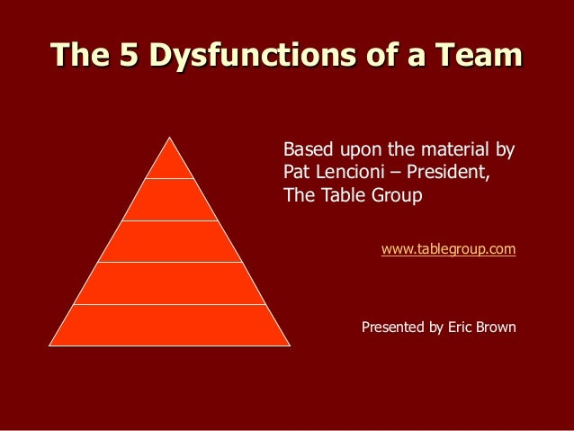 overcoming the five dysfunction of a The five dysfunctions of a team outlines the root causes of politics and dysfunction on the teams where you work, and the keys to overcoming them counter to conventional wisdom, the causes of dysfunction are both identifiable and curable.