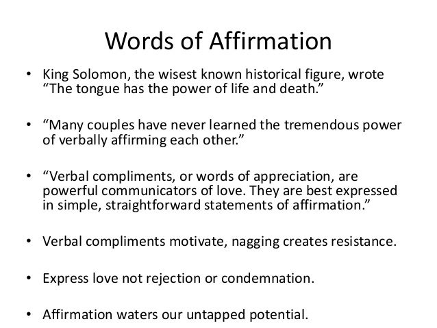The Power of Affirming Words  The 5 Love Languages