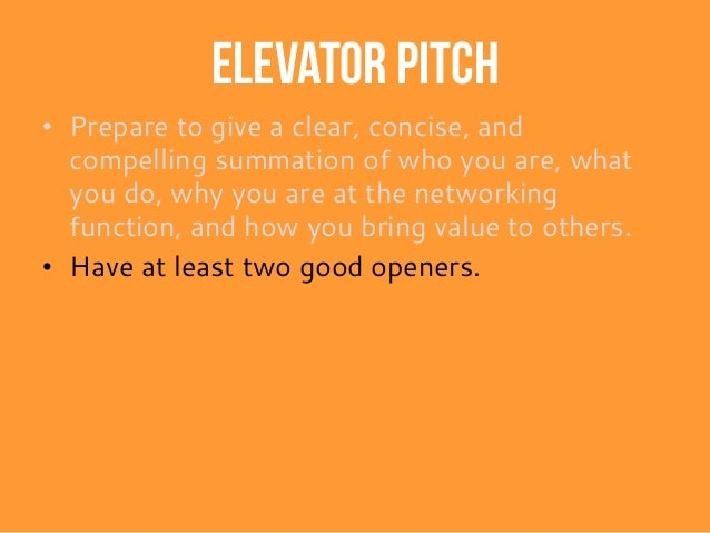 "Elevator Pitch Example "" I"