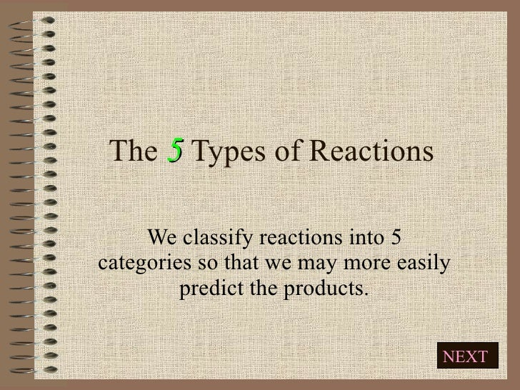 The 5 Types of Reactions Ms. Komperda March 22 nd  & 23 rd We classify reactions into 5 categories so that we may more eas...