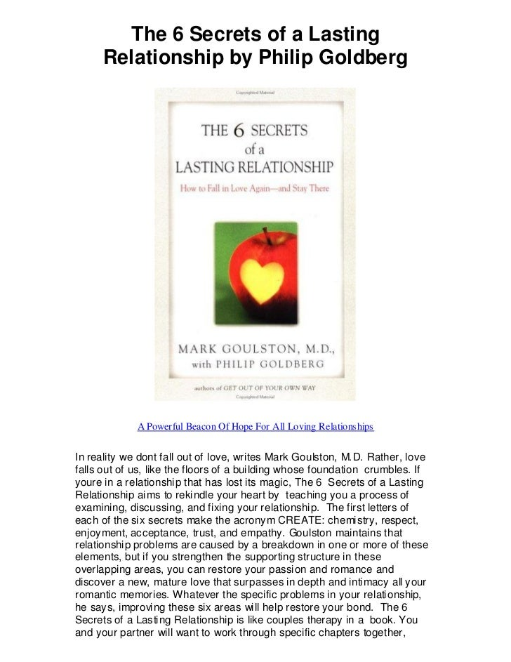 The 6 Secrets of a Lasting      Relationship by Philip Goldberg             A Powerful Beacon Of Hope For All Loving Relat...
